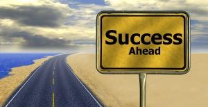 road sign online marketing success ahead